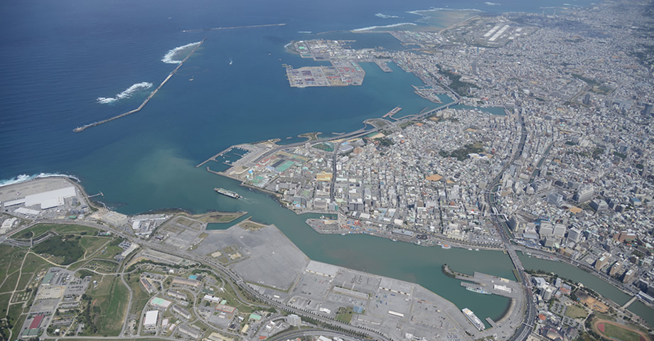 Aerial view of Naha Port (circa 2016)